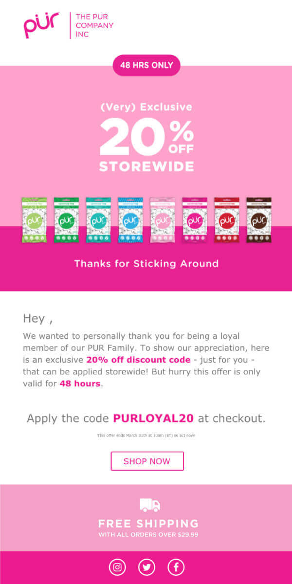 email marketing Pur promo